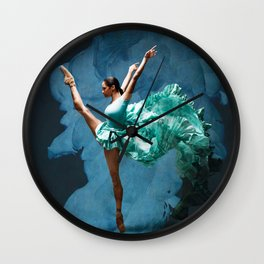 -O1- Blue Ballet Dancer Deep Feelings. Wall Clock