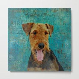Airedale Terrier Portrait on Word Art Metal Print