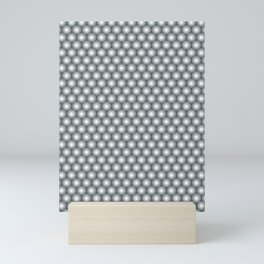 White Polka Dots and Circles Pattern on PPG Night Watch Pewter Green Mini Art Print