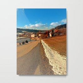 Country road in winter village scenery | landscape photography Metal Print