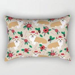 Welsh Corgi poinsettia christmas hat santa little corgi elf pet friendly dog breed gifts Rectangular Pillow