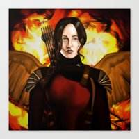 mockingjay Canvas Prints featuring Mockingjay by gottalovedrawing
