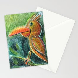 Bird For Children Pastel Chalk Drawing Stationery Cards