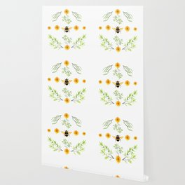 Bees in the Garden v.3 - Watercolor Graphic Wallpaper