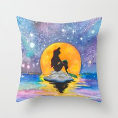 The Little Mermaid Galaxy Throw Pillow