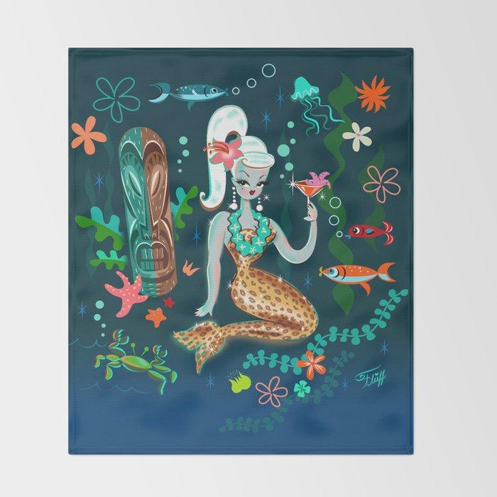 Blonde Leopard Martini Mermaid Throw Blanket