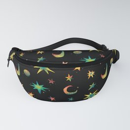 Colorful Watercolor Stars and Moons Pattern Fanny Pack