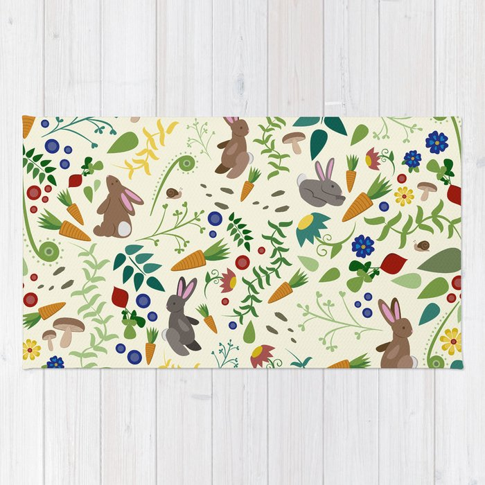 Rabbits In The Garden Rug By Jackiesullivan Society6