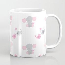Pink Elephant Chickadee Bird Heart Coffee Mug