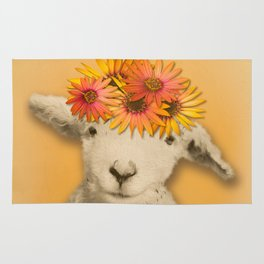 Daisies Sheep Girl Portrait, Mustard Yellow Texturized Backgroud Rug