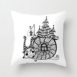 funny snail Throw Pillow