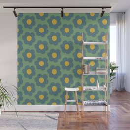 Retro 60s Flower Green Blue Yellow #pattern #floral Wall Mural