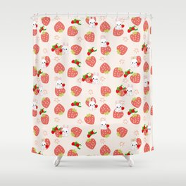 Bunnies and Strawberries Shower Curtain