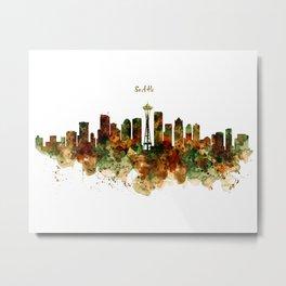 Seattle Watercolor Skyline Poster Metal Print
