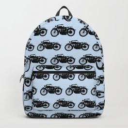 Antique Motorcycle // Light Blue Backpack