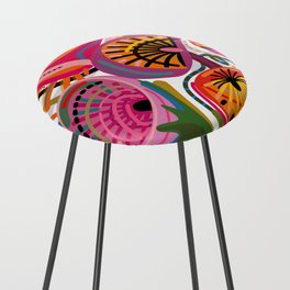 Red Flower Trip Counter Stool