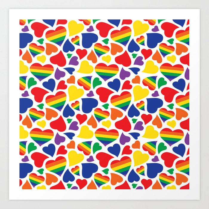 26a4152c Retro Rainbow LGBT Pride Hearts Art Print by wingmarksdesigns | Society6