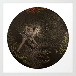 Digging a Hole in the Park After Dark Art Print