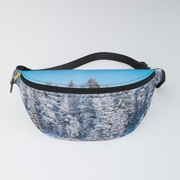 Winter pine forest nature background Fanny Pack