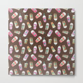 Coffee Crazy Toss in Expresso Brown Metal Print