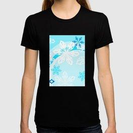 Blue Flower Art Winter Holiday T-shirt