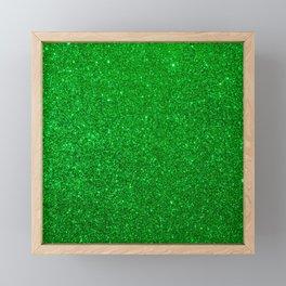Emerald Green Shiny Metallic Glitter Framed Mini Art Print