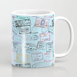 Worldly Traveler - Passport Pattern - Light Blue Coffee Mug