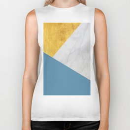 Carrara marble with gold and Pantone Niagara color Biker Tank