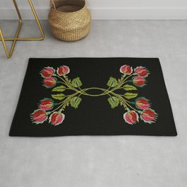 Embroidered Scandi Flowers Rug