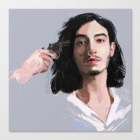 ezra koenig Canvas Prints featuring Ezra Miller by Pazu Cheng