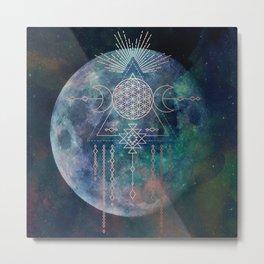Lunar Goddess Mandala Metal Print