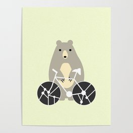 Bear with bike Poster