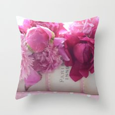 Romantic Paris Peonies  Throw Pillow