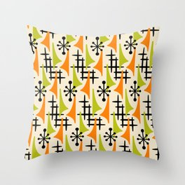 Mid Century Modern Atomic Wing Composition Orange and Chartreuse Throw Pillow