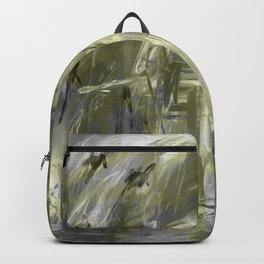 It is so Wavey Grey and Olive Green Acrylic Abstract Art Rucksack
