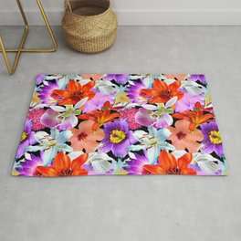 Tropical Floral Study in Black Rug