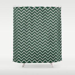 Chevron - hunter green and grey Shower Curtain