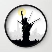 drunk Wall Clocks featuring Drunk Liberty by HenryWine
