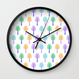 Colorful little trees Wall Clock