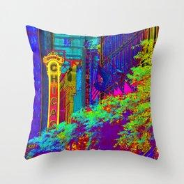 Chicago Theater Rainbow Throw Pillow