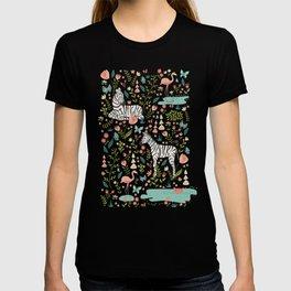 Wild Zebras in Green Garden T-shirt