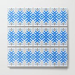 Unity - Force Protection Abundance - Ethno Ukrainian Traditional Pattern - Slavic Ornament Blue White Black Metal Print