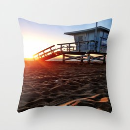 "Redondo Beach ""Life Guard Tower 3"" Throw Pillow"