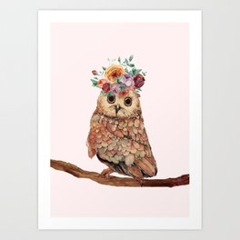 Owl with Flowers Art Print