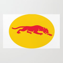 Panther Crouching Oval Retro Rug