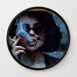 Marla Singer Smokes A Cigarette Behind Sunglasses - Fight Wall Clock