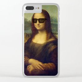 Hipster Mona Lisa in her Hipster Shades Clear iPhone Case