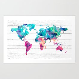 World Map Watercolor Paint on White Wood Art Print