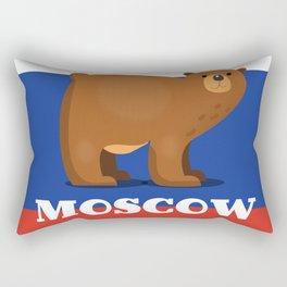 Moscow Bear and flag travel poster. Rectangular Pillow