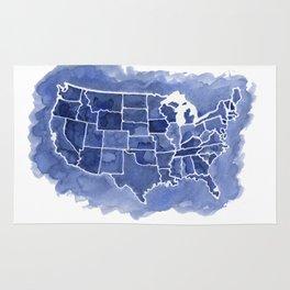 Watercolor Map of America Rug